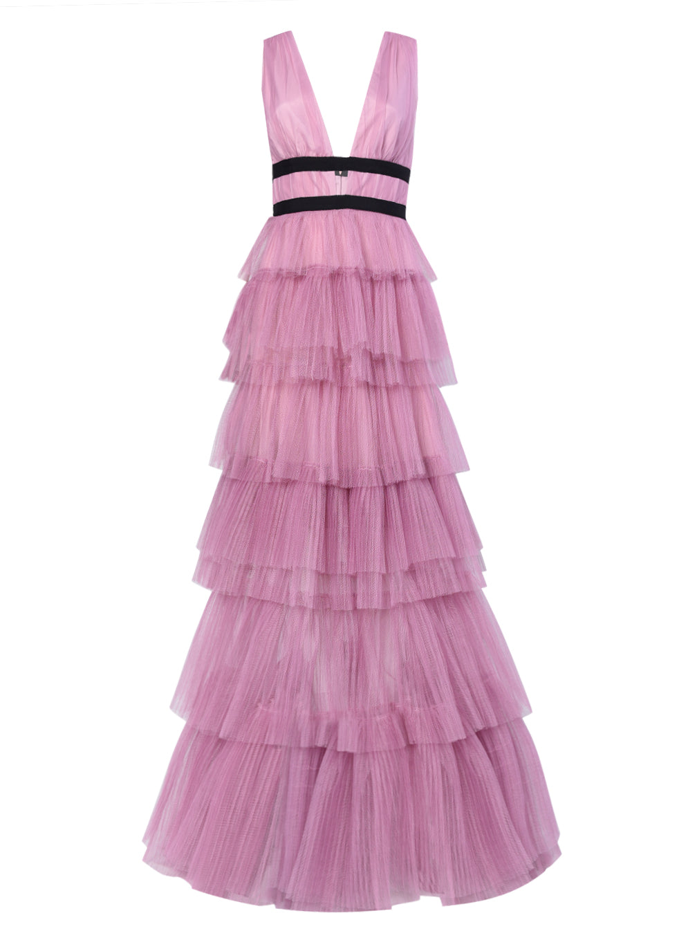 True Decadence Dark Pink Plunge Front Tulle Layered Maxi Dress