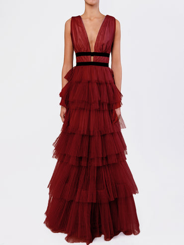 Burgundy Plunge Front Tulle Layered Maxi Dress
