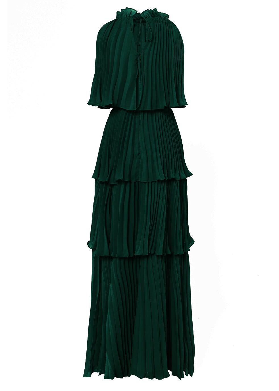 Pine Green Tiered Pleated Maxi Dress