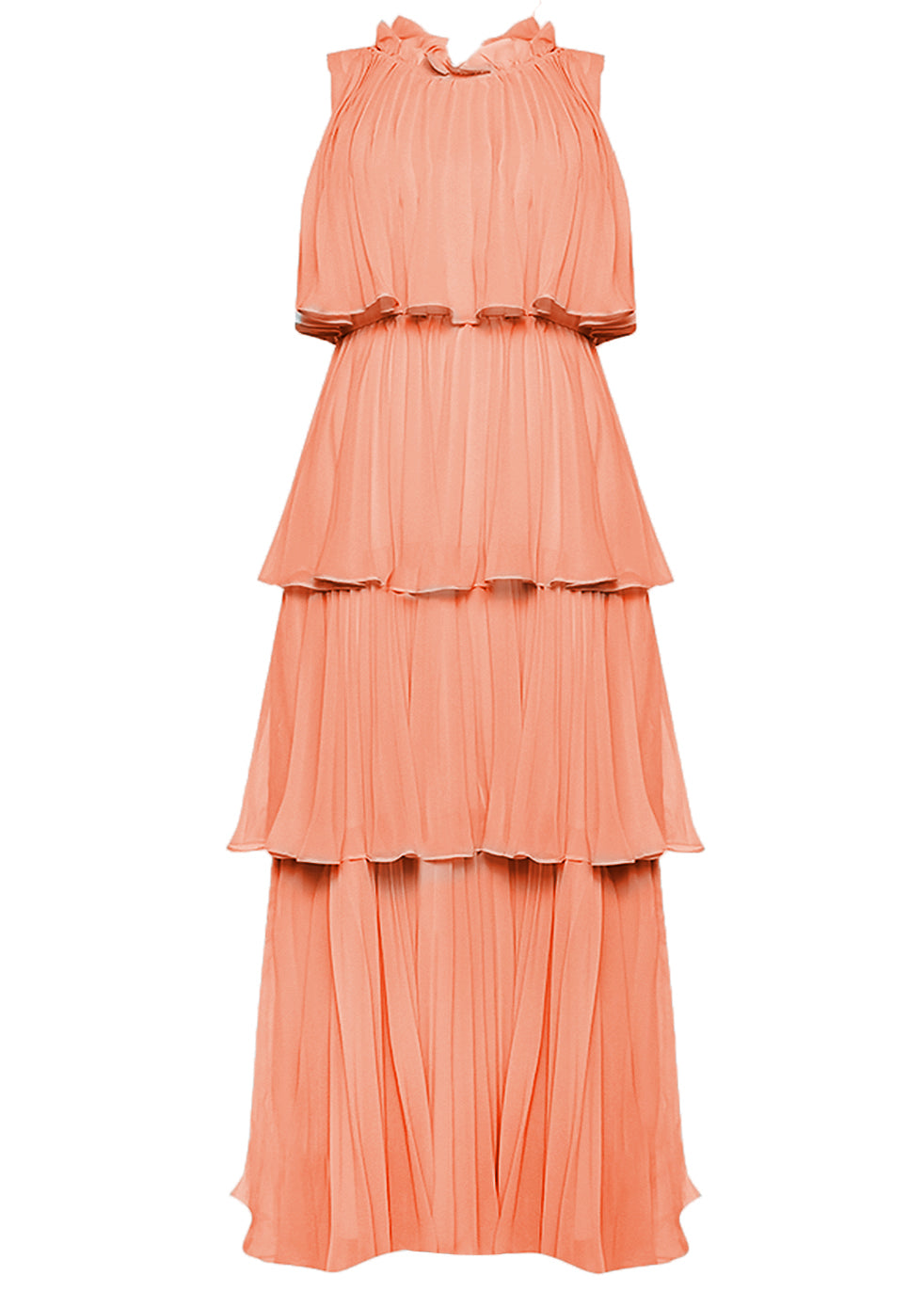True Decadence Dusty Peach Tiered Pleated Maxi Dress