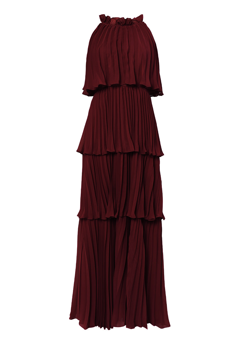 Burgundy Tiered Pleated Maxi Dress