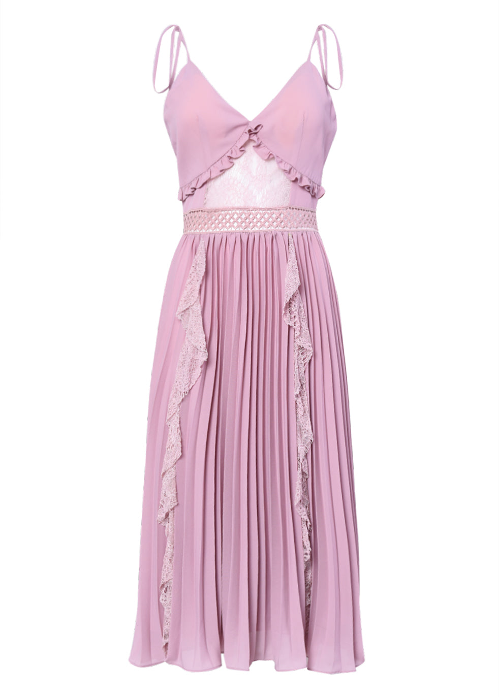 True Decadence Pink Mauve Cami Pleated Low Back Midi Dress