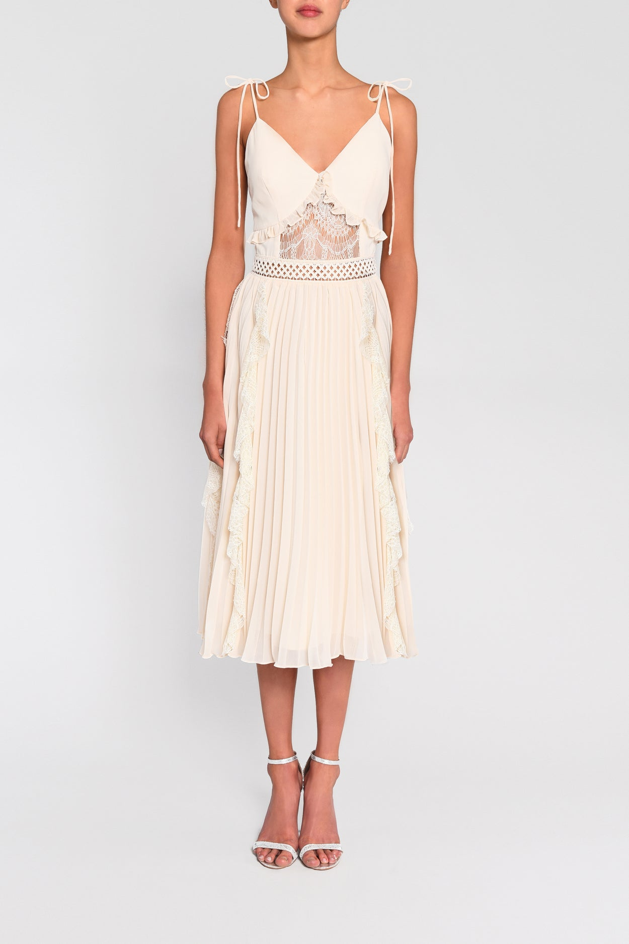 True Decadence Cream Cami Pleated Low Back Midi Dress