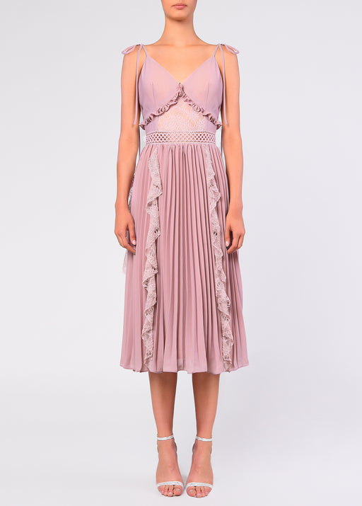 True Decadence Dusty Pink Crepe Cami Pleated Midi Dress