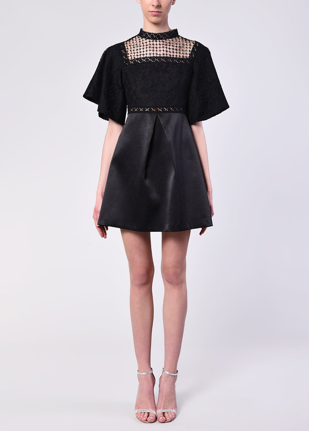 Black Lace And Satin Crochet Detailing Dress