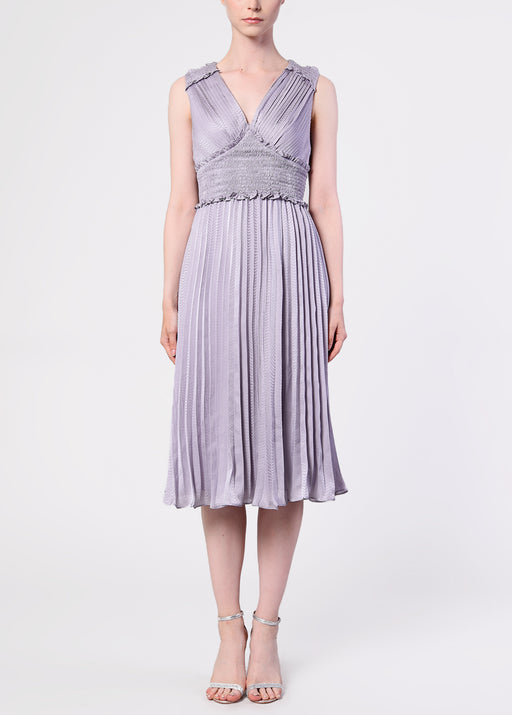 Lilac Grey Plunge Front Pleated Midi Dress