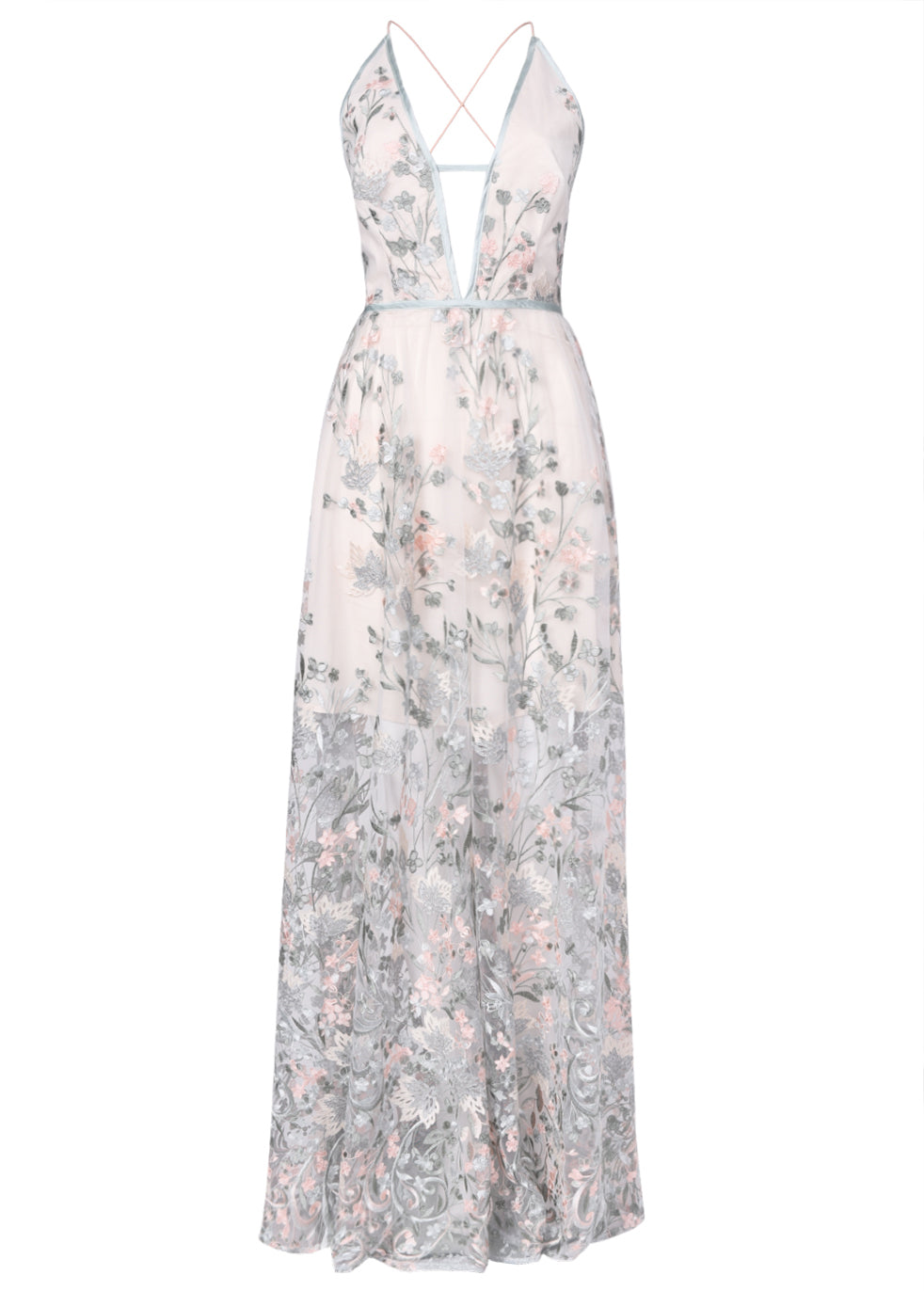 True Decadence Light Sage Embroidery Low Back Maxi Dress