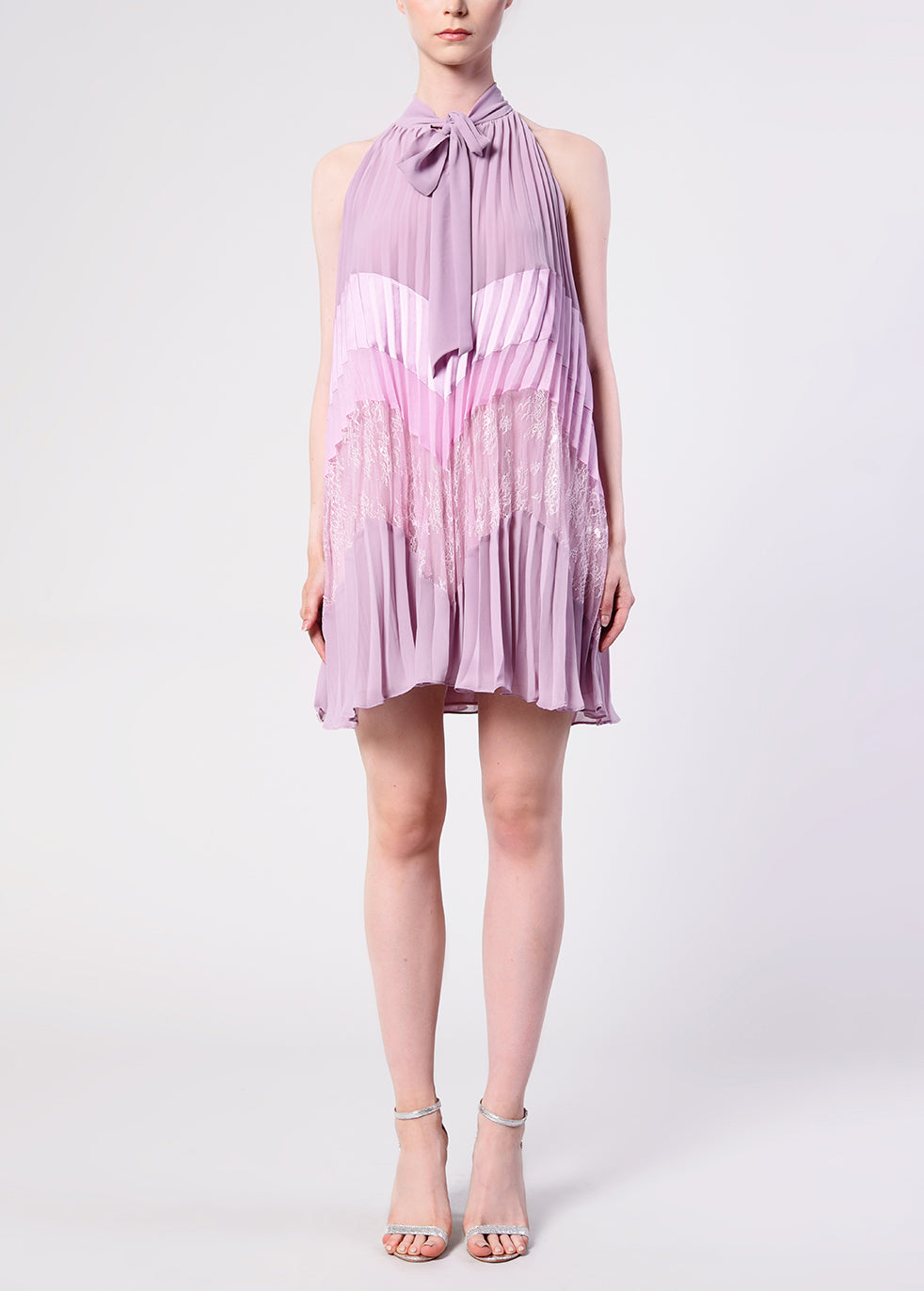 Dusty Lilac Chevron Halter neck Pleated Mini Dress