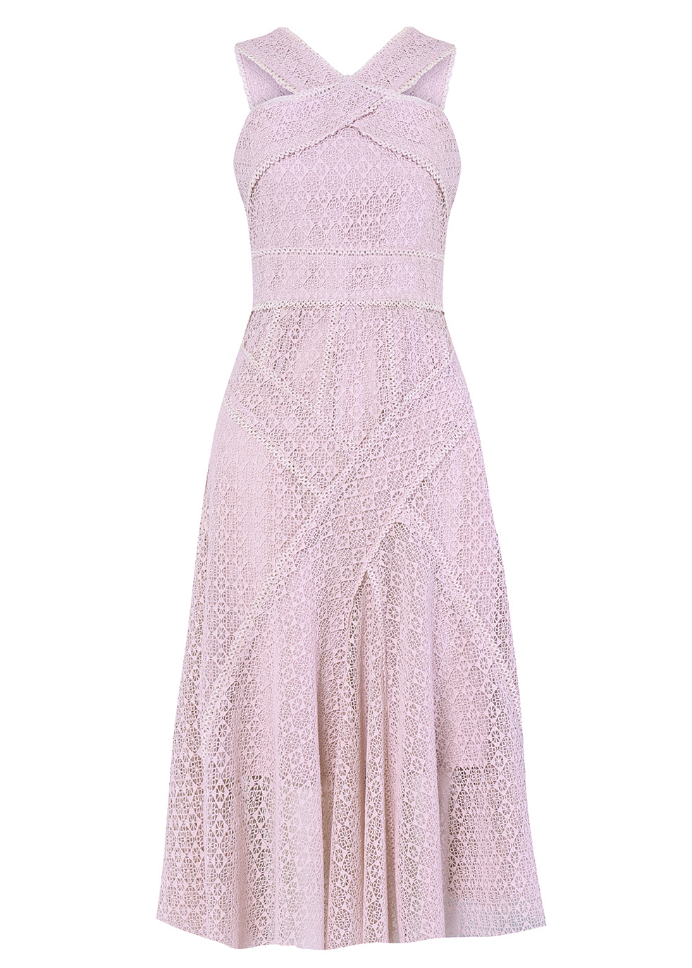 Pinky Lilac Cross Body Crochet Midi Dress