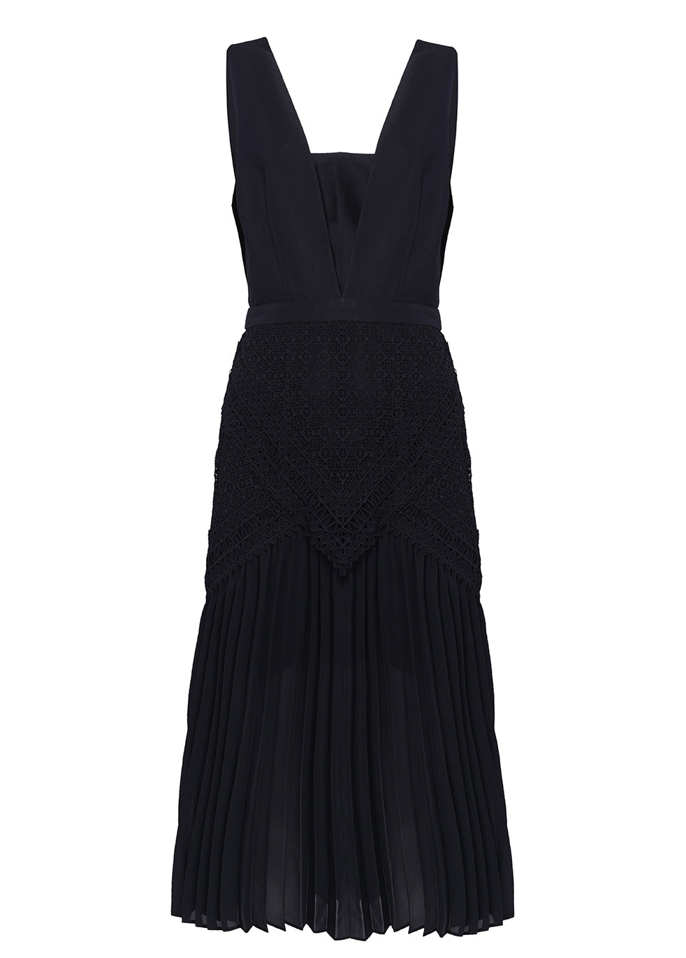 Black Plunge Front Lace Detail Pleated Midi Dress