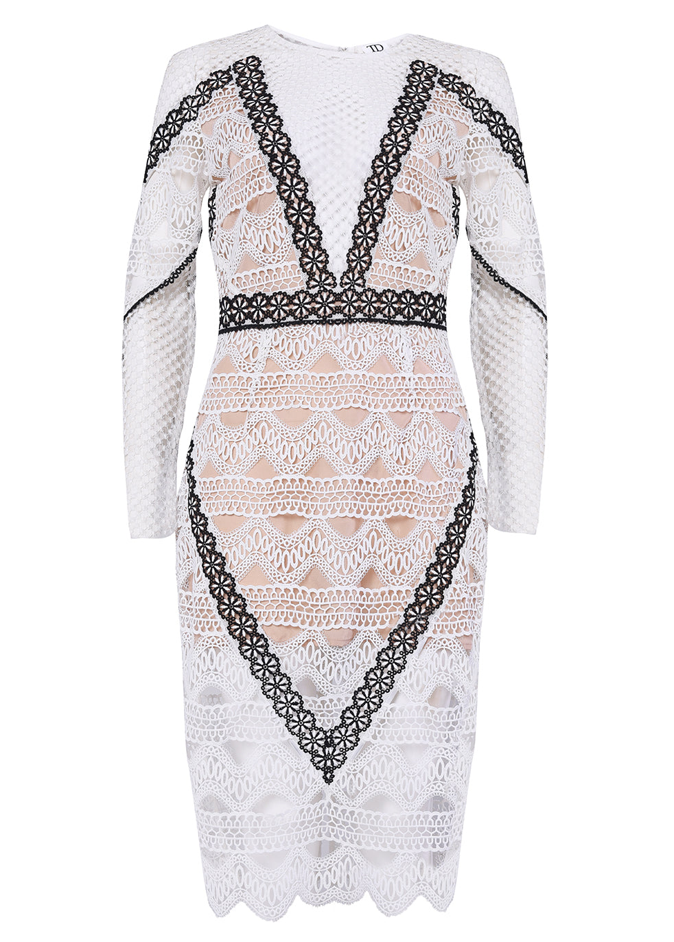 White Black Nude Crochet Long Sleeve Midi Dress