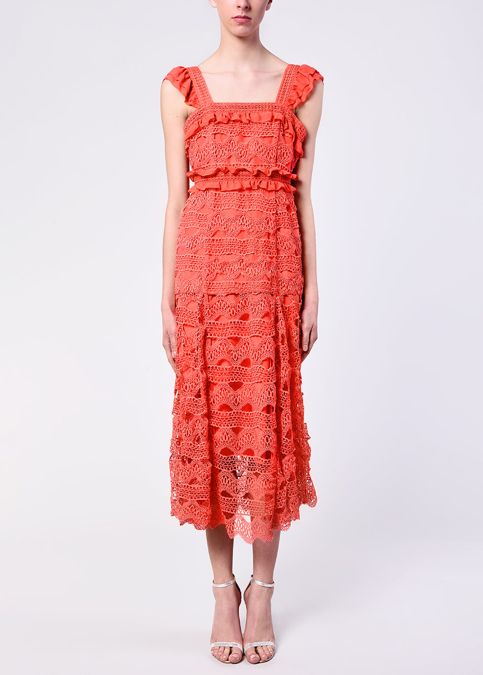 Bright Coral Crochet Square Neck Midi Dress