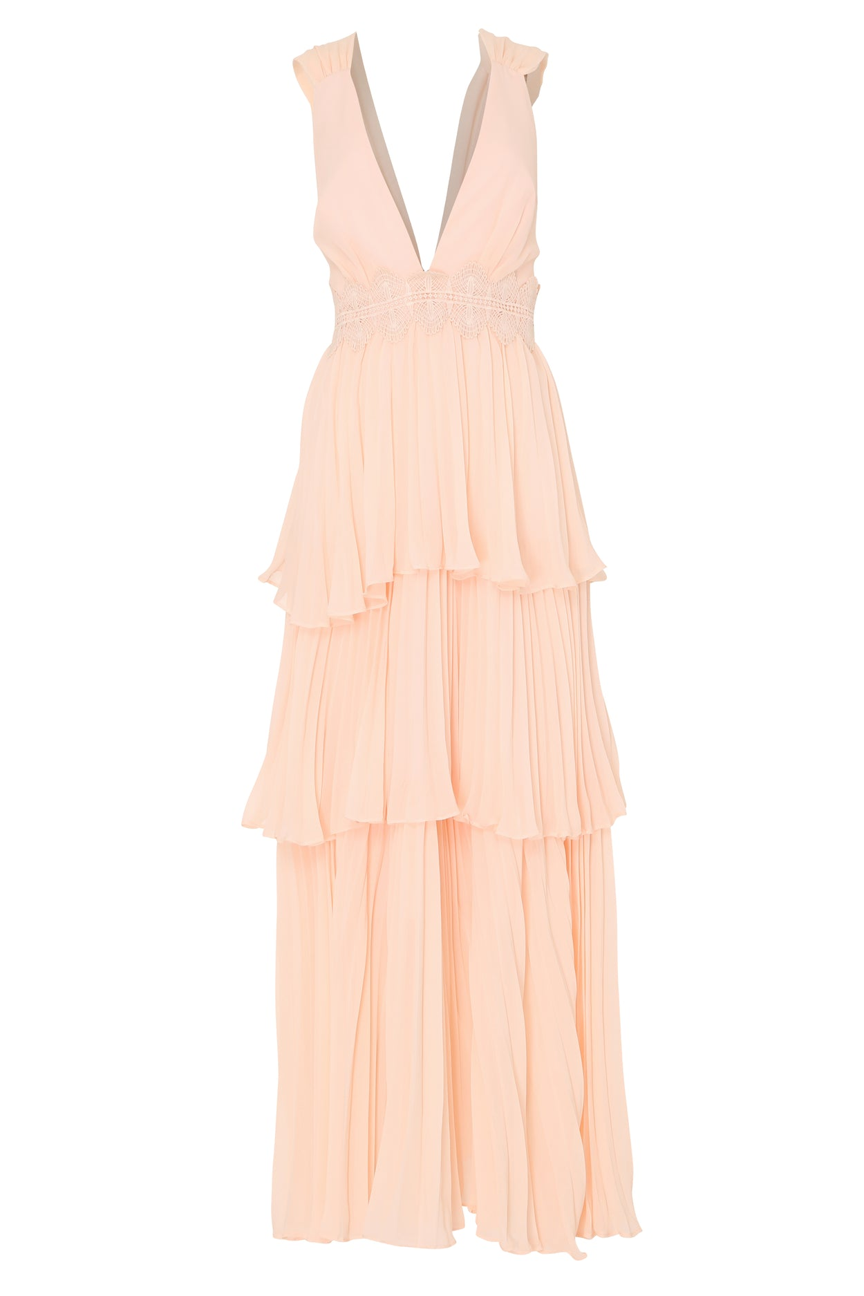 Soft Peach Plunge Front Tie Back Maxi Dress