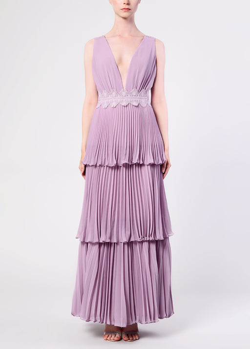 Dusty Lilac Plunge Front Tie Back Maxi Dress