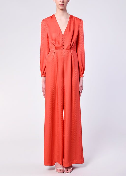 Bright Coral Button Front Jumpsuit
