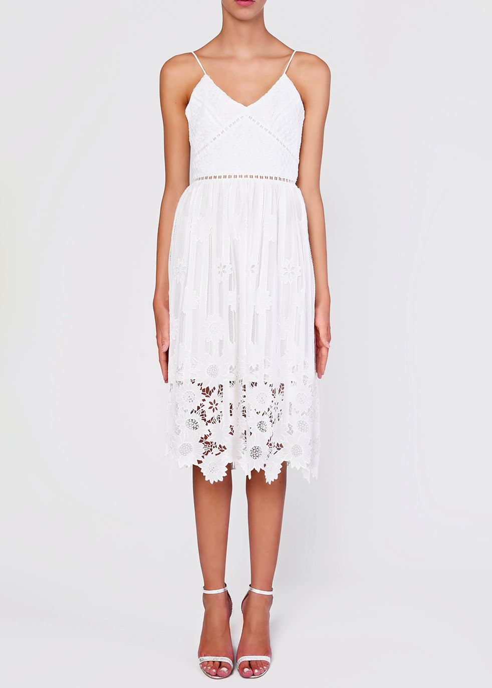 White Ladder Cut Work Strappy Midi Sundress