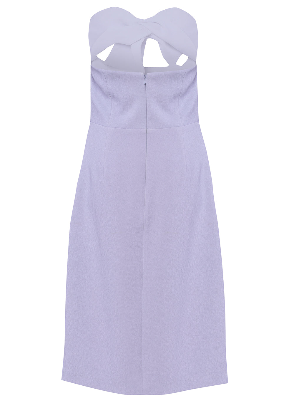 Lavender Grey Strapless Bow Midi Dress