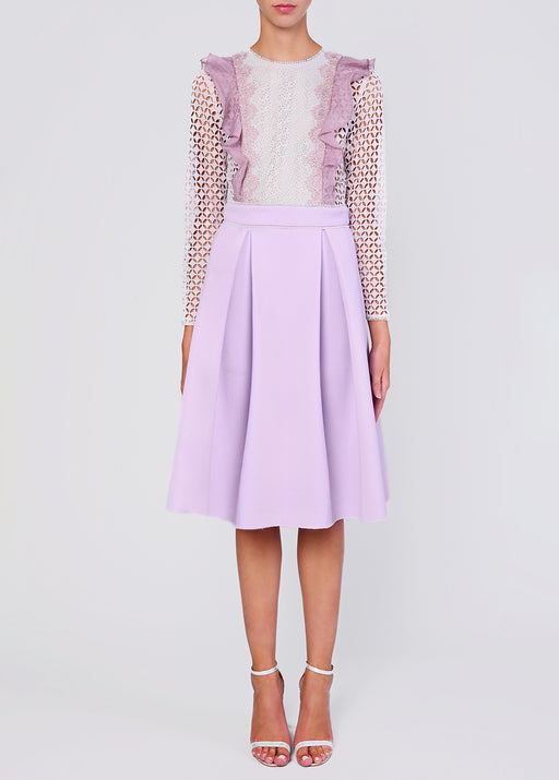 Tonal Lilac Neoprene and Lace Midi Dress