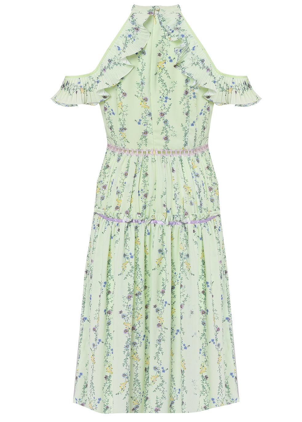 Apple Green Linear Floral Crepe Cold Shoulder Midi Dress