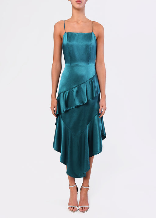 True Decadence Teal Satin Low Back Midi Dress