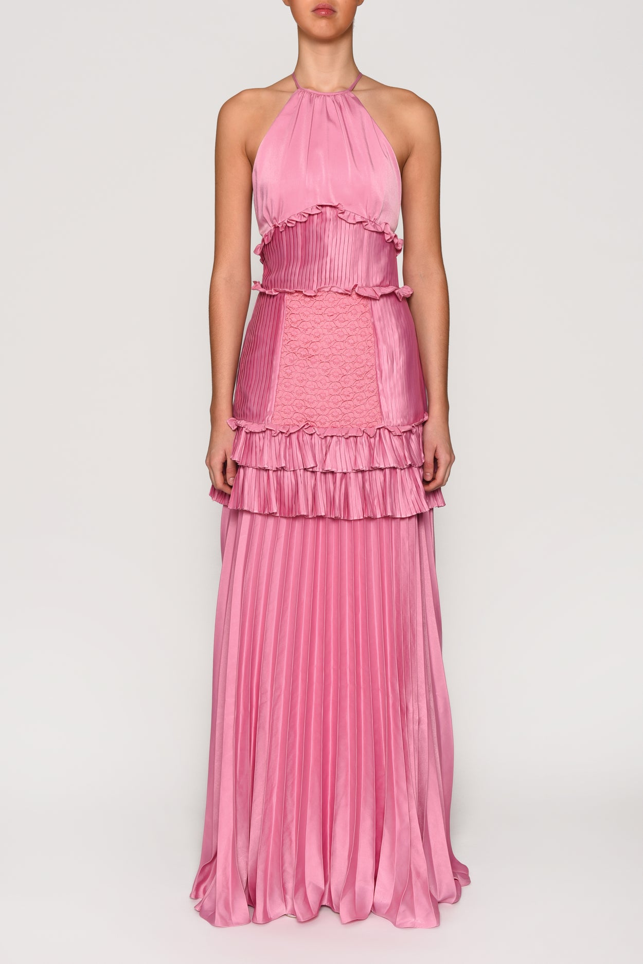 Orchid Pink Satin Halterneck Gown