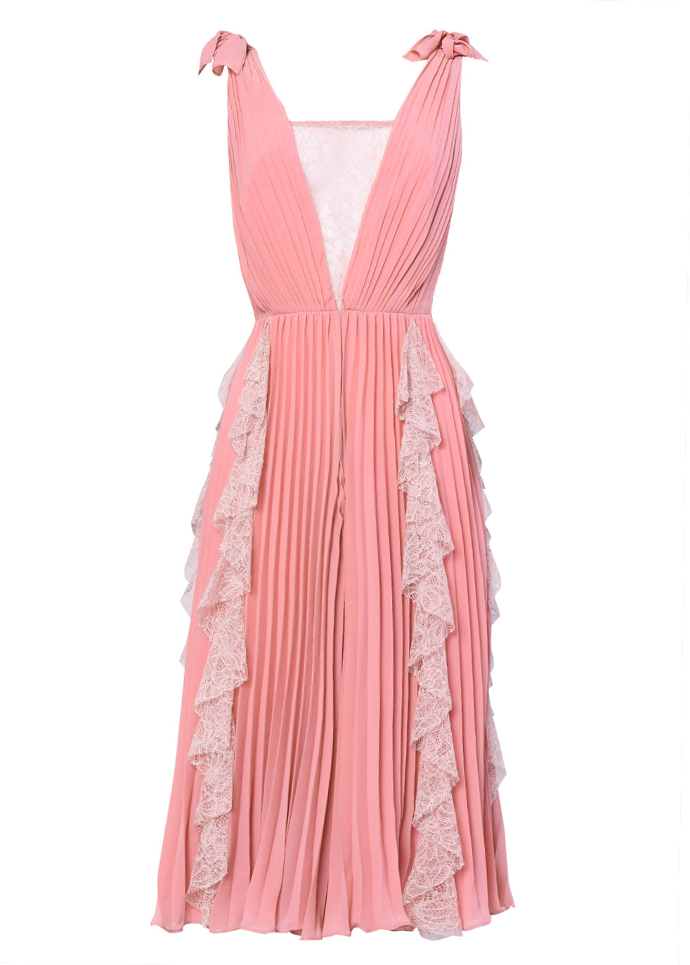 True Decadence Dusty Pink Crepe Lace Pleated Midi Dress