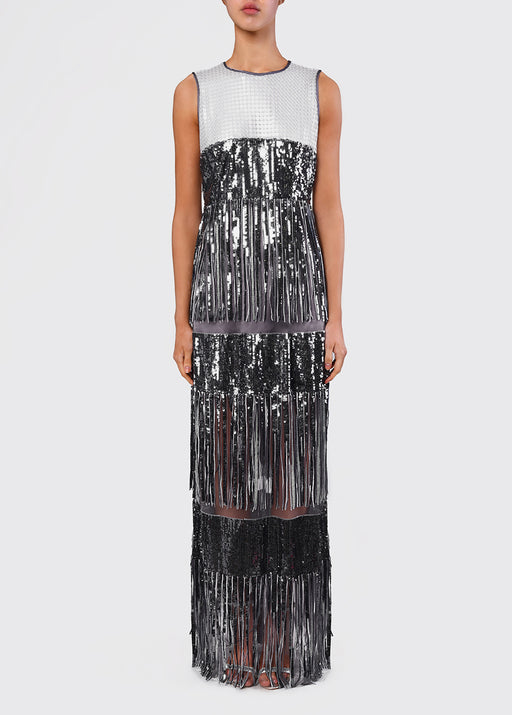 True Decadence Gunmetal Sequin Fringed Maxi Dress