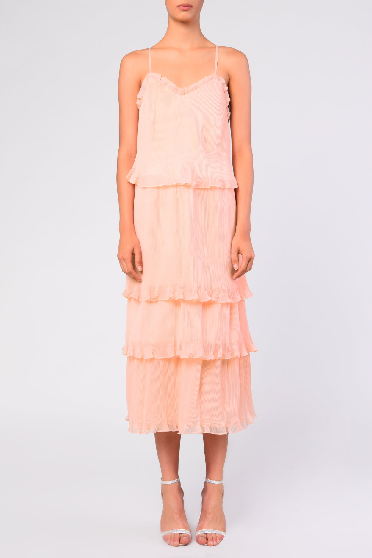 Pale Pink Organza Pleated Tiered Midaxi Dress