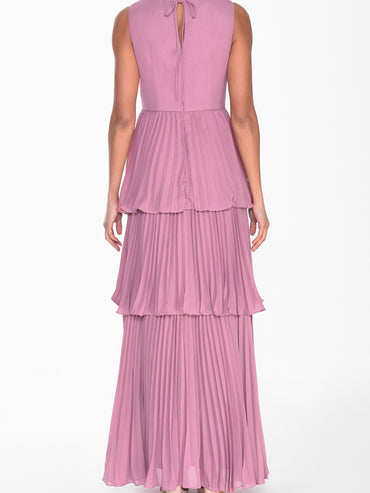 Dusty Pink Tiered Pleated Maxi Dress