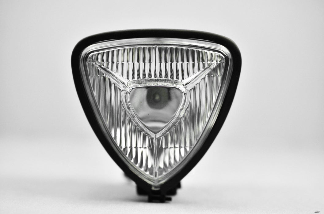 Triangular Motorcycle Headlight with White Glass and Black Casing (847465971769)