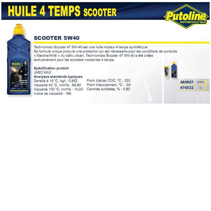 Huile 4 Temps scooter 4T+5W40 synthétique 125ML PUTOLINE