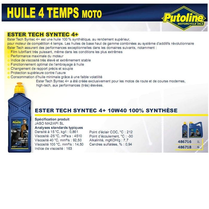 Huile 4 Temps syntec 4+ 10W40 100% synthèse 1L PUTOLINE