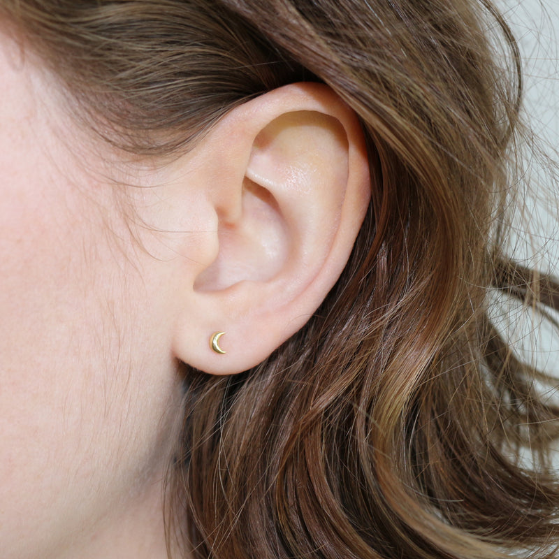 mini crescent moon stud earrings