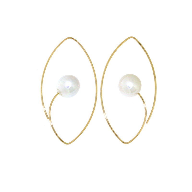Large Floating Pearl Earrings