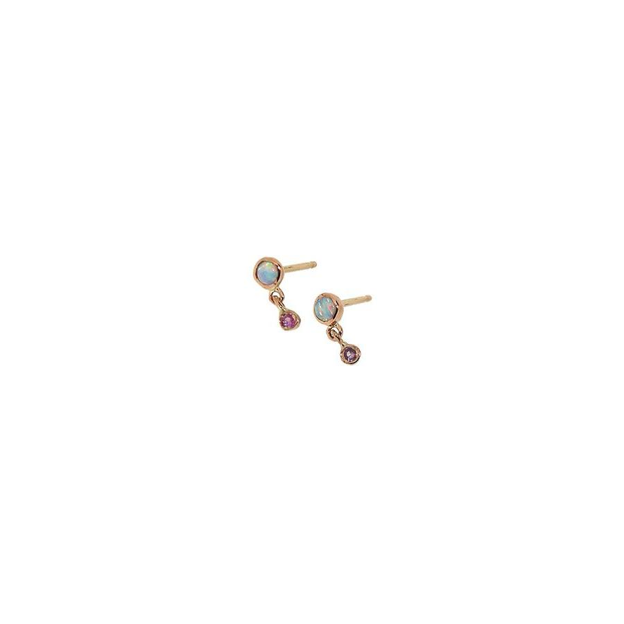 Jaine K Opal + Pink Sapphire Dangle Earrings