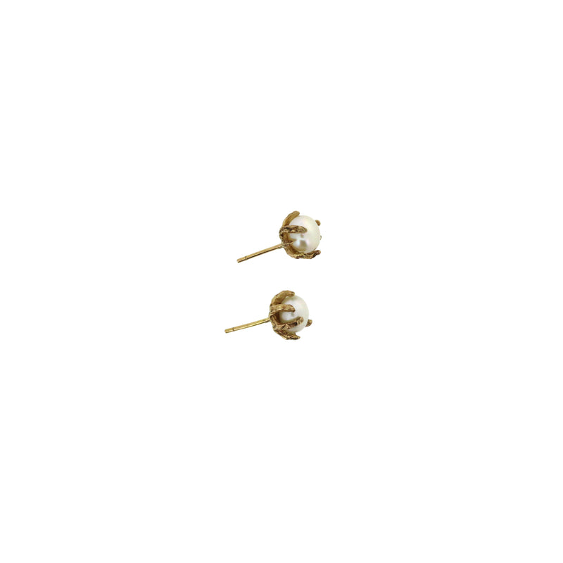 gold pearl claw earrings