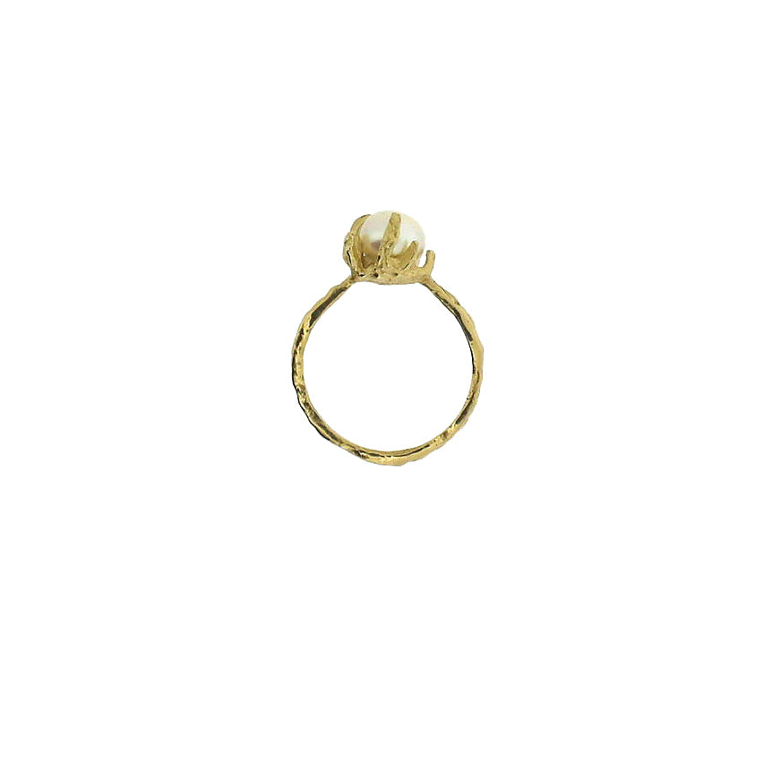 gold pearl claw ring