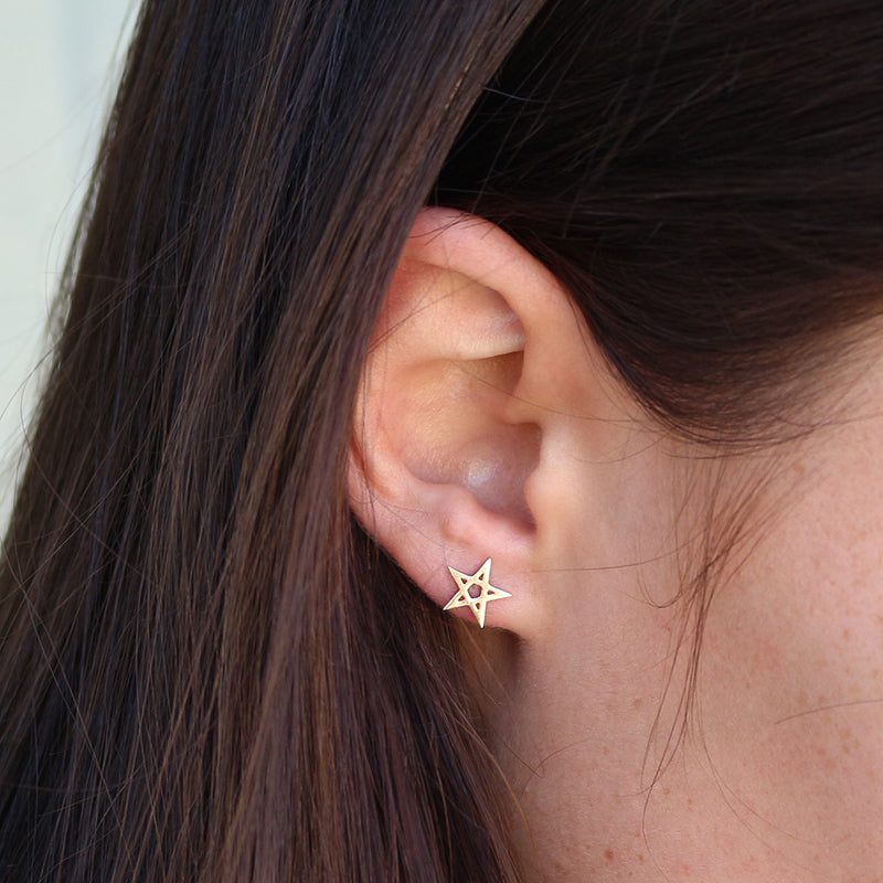 Meadowlark Pentagram Stud Earrings