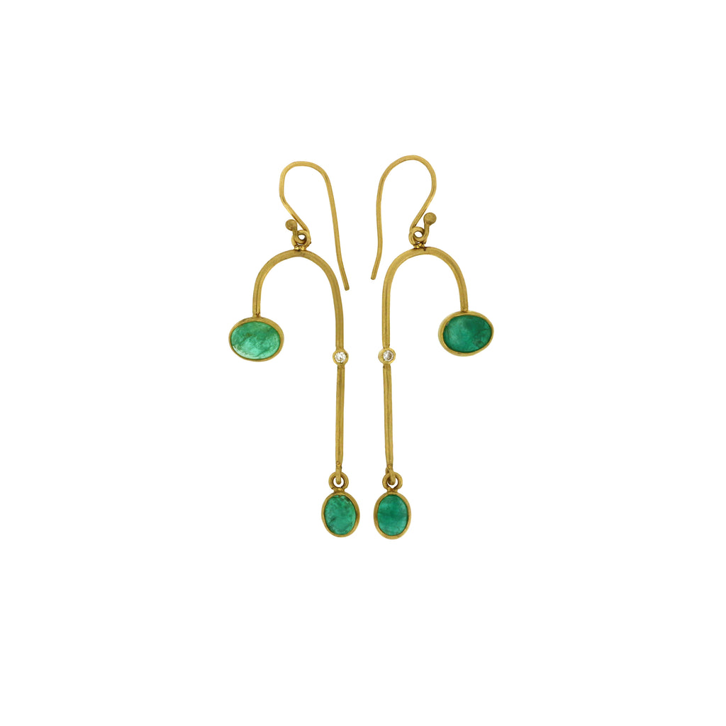emerald arc drop earrings