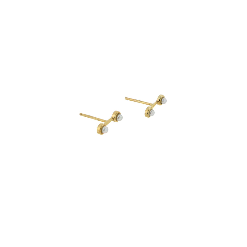 Twin Stud Pearl Earrings