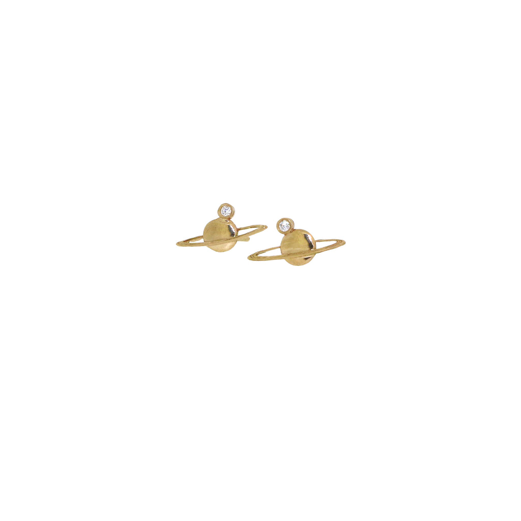 diamond mini saturn earrings