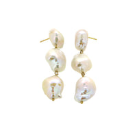 White/Space Triple Baroque Pearl Drop Earrings