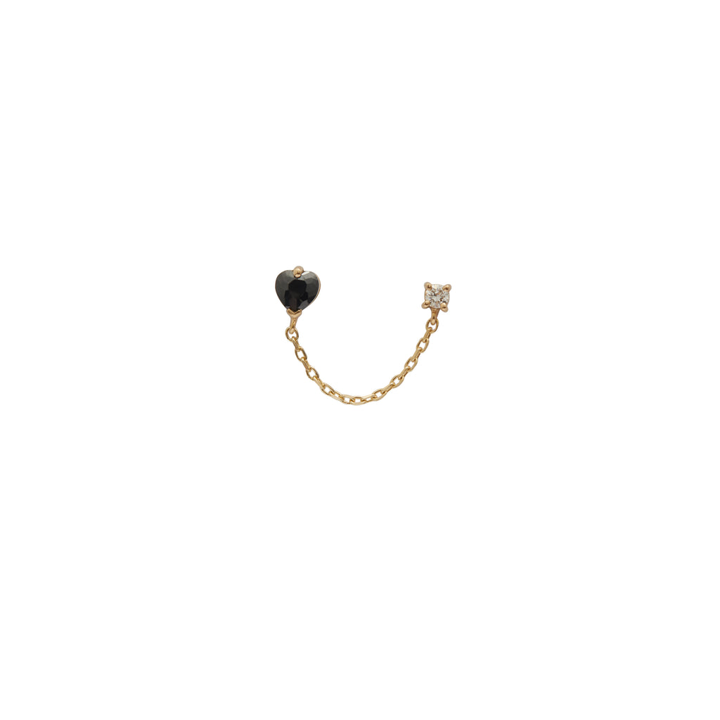 Onyx Heart + Diamond Chain Linked Earring