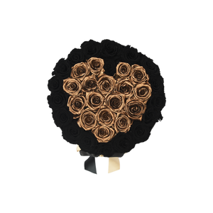 Orb Grand Black and Gold Heart Roses