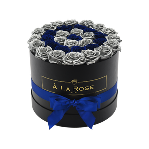 Orb Grand Blue and Silver Rows Roses
