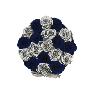 Orb Deluxe Blue and Silver Checkered Roses