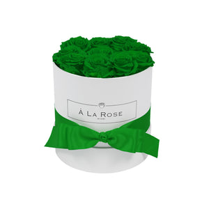 Emerald Green Roses - Round Box