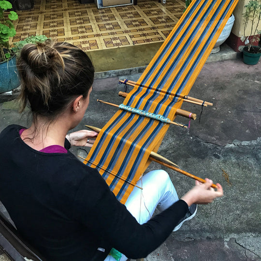 slow fashion weaving a scarf in Guatemala