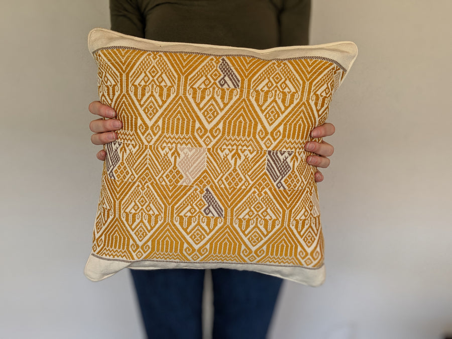 Colibri Cushion White and Mustard