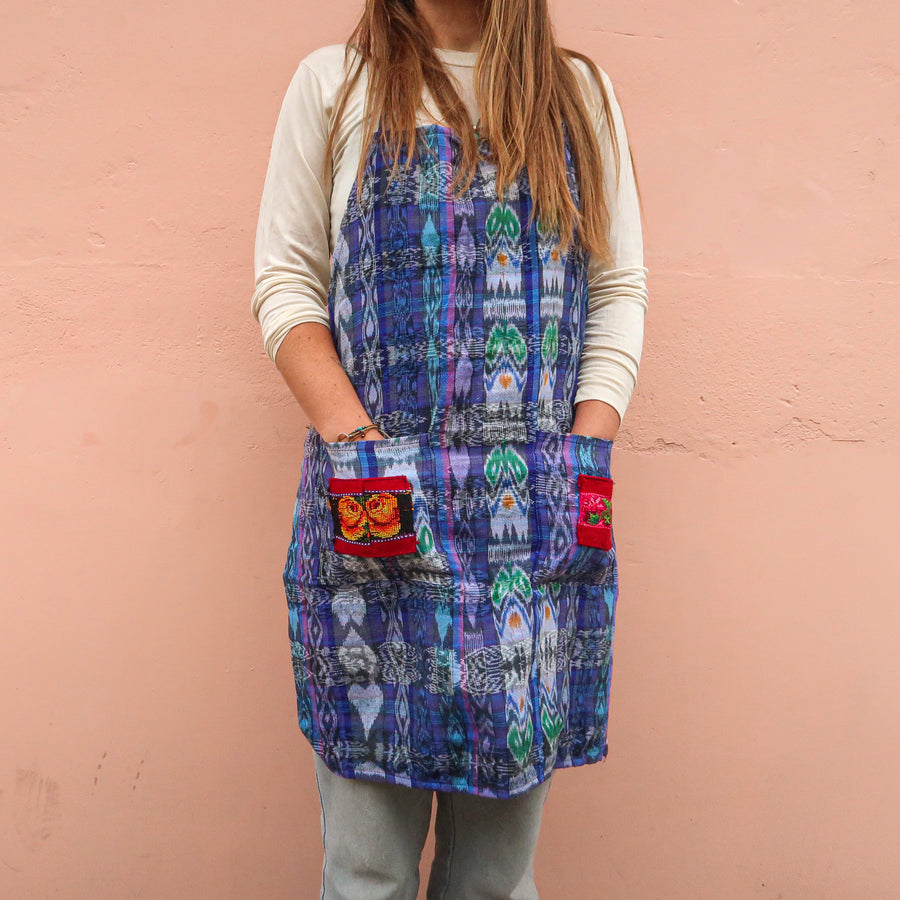 Upcycled Traditional Apron in 'Water'